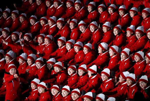 Cheerleaders of North Korea await the start of the Opening Ceremony. (Reuters)