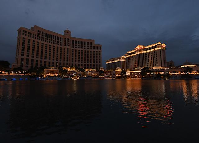The Bellagio Resort & Casino, shown to the left of Caesars Palace, goes dark as a result of Nevada's statewide shutdown due to the coronavirus. The Bellagio was supposed to host the 2020 NFL draft in an elaborate setup. (Photo by Ethan Miller/Getty Images)