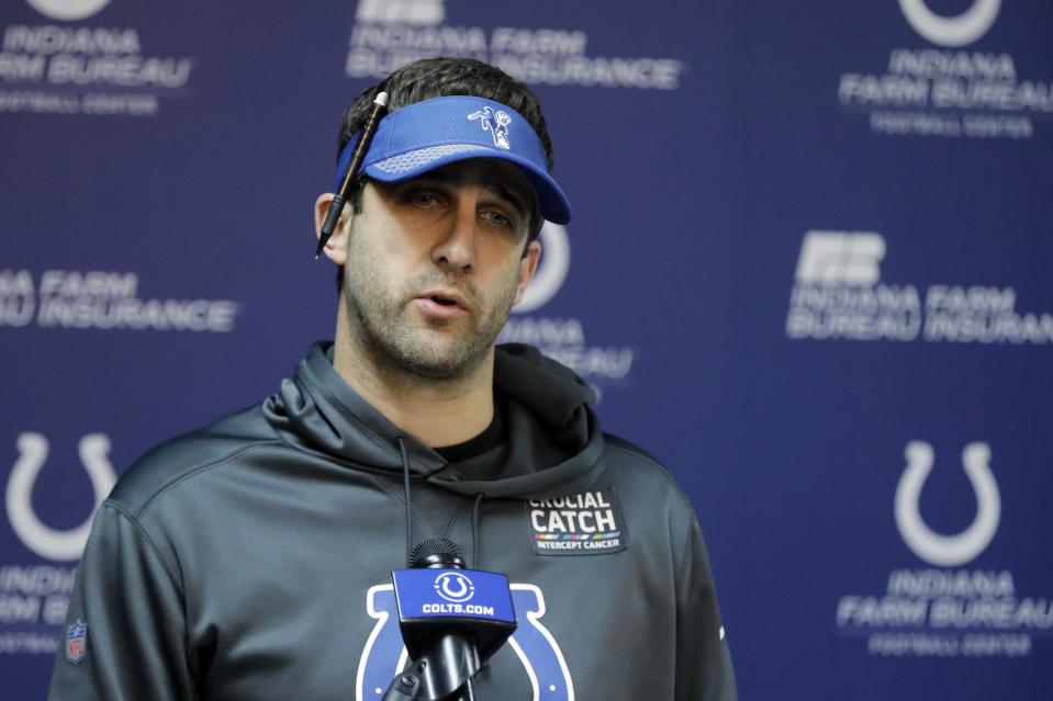 FILE- In this Wednesday, Jan. 2, 2019, file photo, Indianapolis Colts offensive coordinator Nick Sirianni speaks during a news conference at the NFL football team's facility in Indianapolis. The Philadelphia Eagles are nearing a deal to hire Nick Sirianni to be their head coach, according to two people familiar with the decision. Both people spoke to The Associated Press Thursday, Jan. 21, 2021, on condition of anonymity because the team hasn't officially announced the hiring. (AP Photo/Darron Cummings, File)