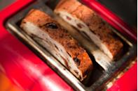 """<p>If you love that cinnamon bun flavor and want it on the regular, opt for two slices of toasted <a href=""""https://www.foodforlife.com/product/breads/ezekiel-49-cinnamon-raisin-sprouted-whole-grain-bread"""" rel=""""nofollow noopener"""" target=""""_blank"""" data-ylk=""""slk:sprouted cinnamon raisin bread"""" class=""""link rapid-noclick-resp"""">sprouted cinnamon raisin bread</a> and spread on some low-fat cream cheese when the toast is nice and warm so it melts a bit. <strong>You'll get that delicious cinnamon roll flavor goodness for a fraction of the calories and fat</strong>, but a ton of fiber and nutrients as well.</p>"""
