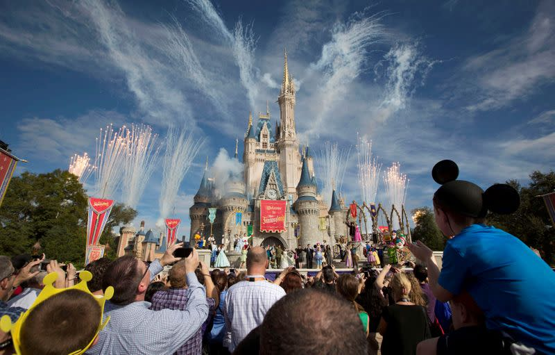 FILE PHOTO: Fireworks go off around Cinderella's castle during the grand opening ceremony for Walt Disney World's new Fantasyland in Lake Buena Vista, Florida
