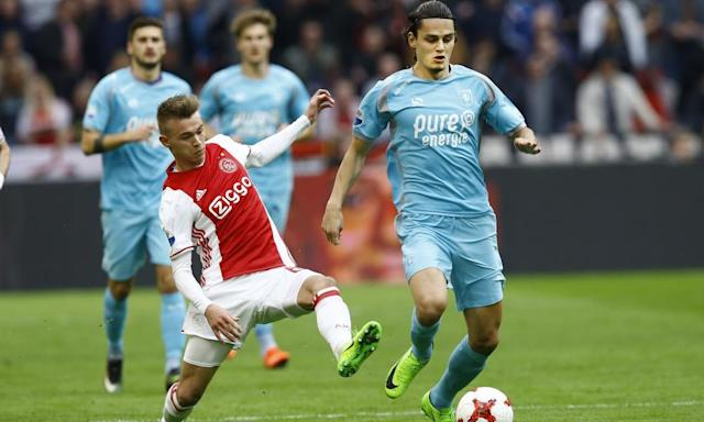 "<span class=""element-image__caption"">Enes Unal, right, has scored 14 goals for Twente this season and looks well set to compete for a place at Manchester City in the future.</span> <span class=""element-image__credit"">Photograph: Hollandse Hoogte/Rex/Shutterstock</span>"