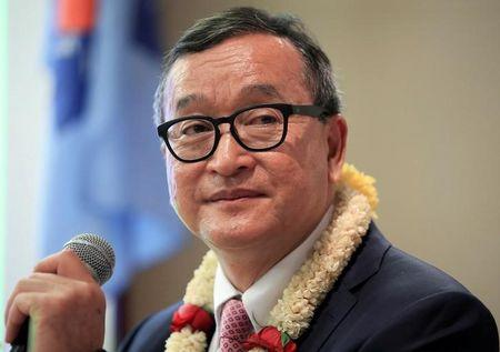 FILE PHOTO - Cambodian opposition leader Sam Rainsy delivers a speech to members of the CNRP at a hotel in metro Manila, Philippines