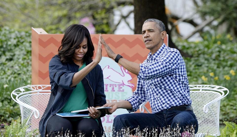 """<p>When they read """"Where The Wild Things Are"""" to kids gathered for the White House Easter Egg Roll in March. [Photo:Getty/Pool]</p>"""