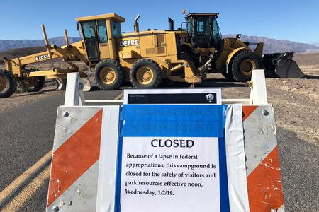 Construction vehicles block the entrance to Harmony Borax Works, a Death Valley National Park historical site, which is closed during the partial U.S. government shutdown, in Death Valley, California, U.S., January 10, 2019.   REUTERS/Jane Ross