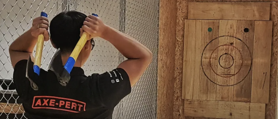 Axe Throwing Experience in Singapore. PHOTO: Klook