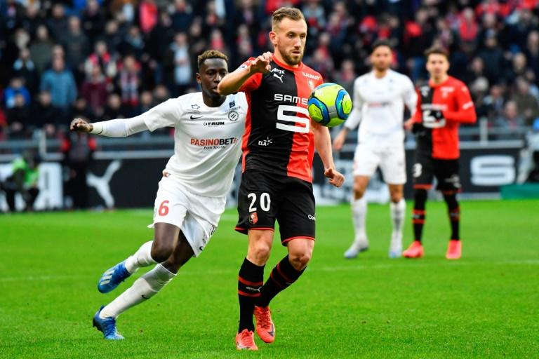 Action from the Ligue 1 game between Rennes and Montpellier in early March. Rennes were third when the season was ended early because of the coronavirus pandemic and qualified for the Champions League as a result