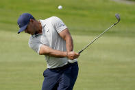 Brooks Koepka hits from the 15th fairway during a practice round of the U.S. Open Golf Championship, Wednesday, June 16, 2021, at Torrey Pines Golf Course in San Diego. (AP Photo/Marcio Jose Sanchez)