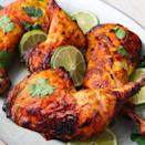 """<p>There's no getting around the marinating time here—the spiced yoghurt mixture is key to super flavourful and tender chicken. If you don't have 2 hours, give it at least 30 minutes. </p><p>Get the <a href=""""https://www.delish.com/uk/cooking/recipes/a28841239/tandoori-chicken-recipe/"""" rel=""""nofollow noopener"""" target=""""_blank"""" data-ylk=""""slk:Tandoori Chicken"""" class=""""link rapid-noclick-resp"""">Tandoori Chicken</a> recipe.</p>"""