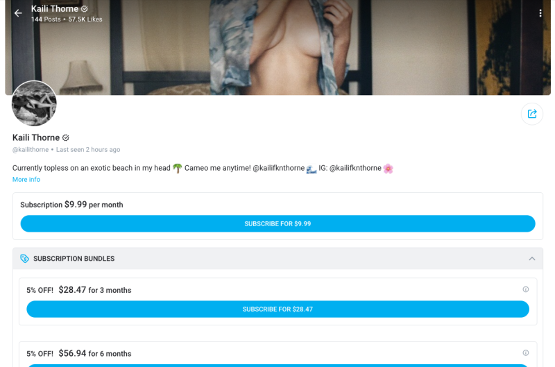 Kaili appears to have joined OnlyFans back in June, months before her younger sister. Photo: OnlyFans.