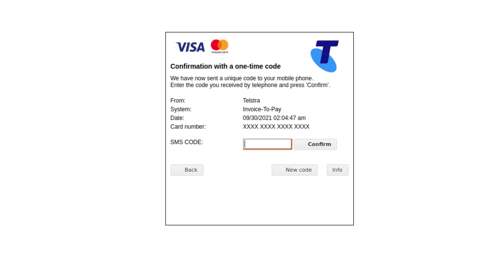 Screenshot of 'one-time SMS code' page of Telstra spoofing scam