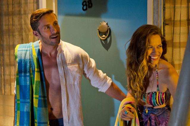 "Darri Ingolfsson as Saxon and Bethany Joy Lenz as Cassie in the ""Dexter"" Season 8 episode, ""Dress Code."""