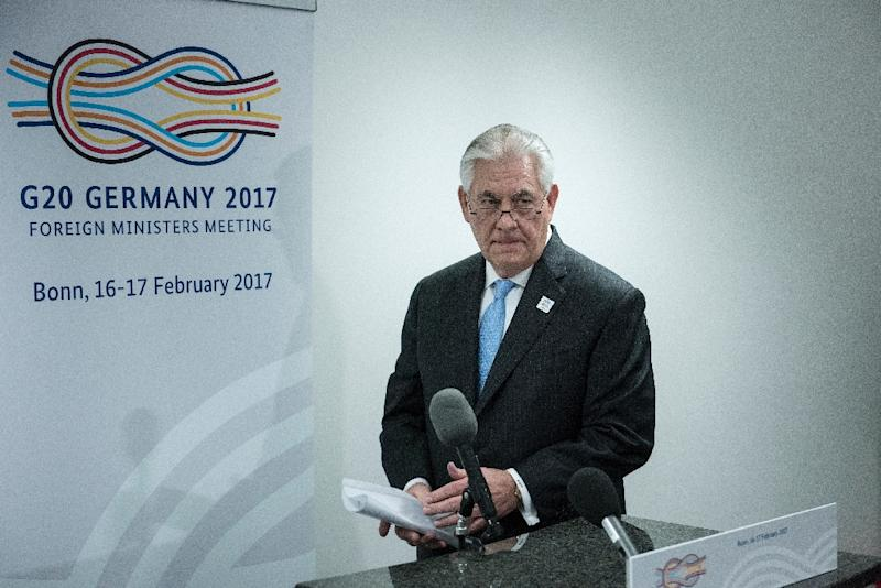 US Secretary of State Rex Tillerson arrives to make a statement about a meeting with Russia's Foreign Minister in Bonn, on February 16, 2017