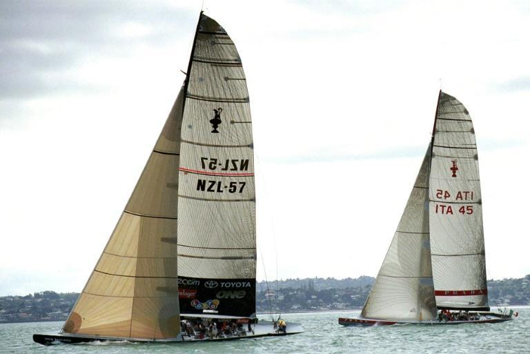 Early days: The 2000 Team New Zealand yacht heads Luna Rossa during a training day on the Hauraki Gulf ahead of the America's Cup that year, New Zealand's first defence of the trophy