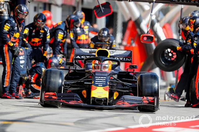 "Max Verstappen, Red Bull Racing RB15 pit stop <span class=""copyright"">Steven Tee / LAT Images</span>"