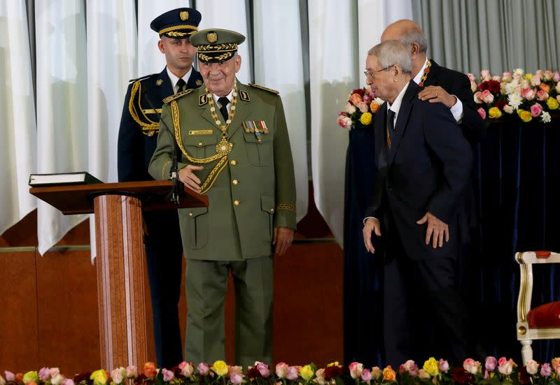 FILE PHOTO: Algeria's army chief Lieutenant-General Ahmed Gaed Salah is seen during a swearing-in ceremony in Algiers