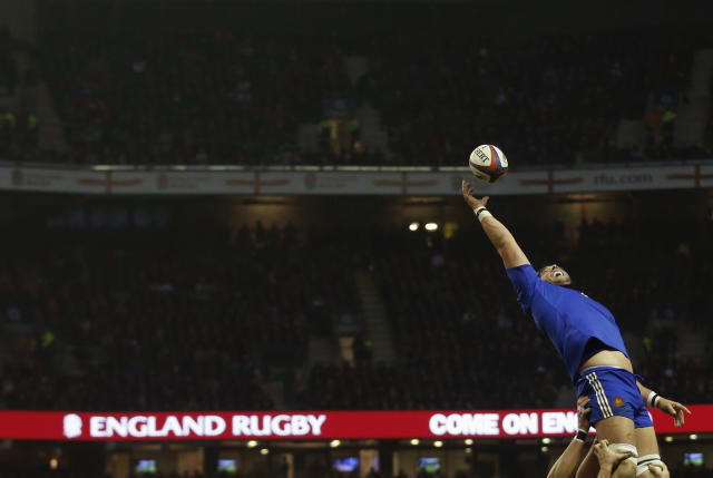 France's Christophe Samson jumps for the ball during their Six Nations rugby match against England at Twickenham stadium in London February 23, 2013. REUTERS/ Eddie Keogh (BRITAIN - Tags: SPORT RUGBY) - RTR3E6A1