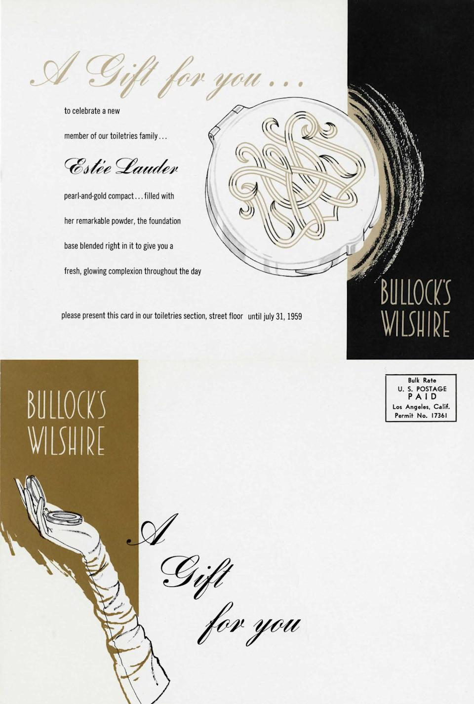 <p>A department store called Bullock's Wilshire in Los Angeles, California sent out this promotional postcard to receive a free pearl and gold compact at makeup counters.<i> (Photo: Estée Lauder)</i></p>