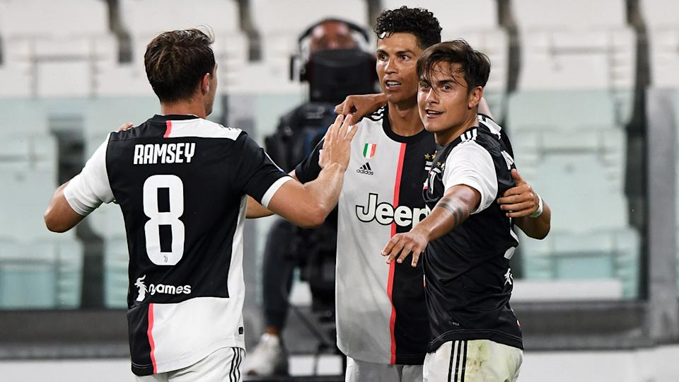 Cristiano Ronaldo, pictured here celebrating with Juventus teammates.