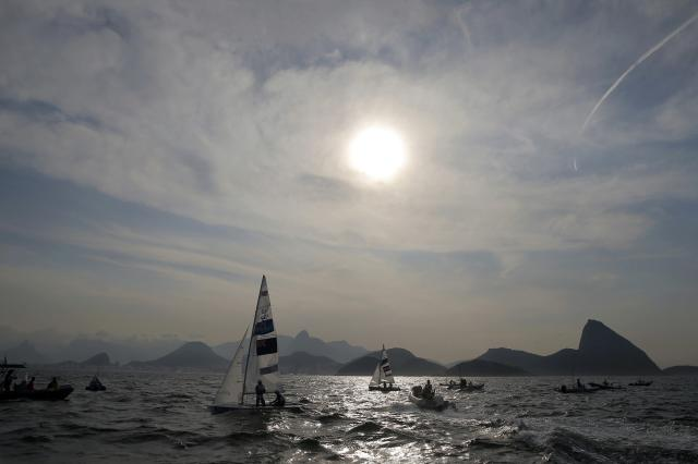 2016 Rio Olympics - Sailing - Preliminary - Men's Two Person Dinghy - 470 - Race 9/10 - Marina de Gloria - Rio de Janeiro, Brazil - 15/08/2016. The men's and women's 470 fleet prepares to compete. TPX IMAGES OF THE DAY REUTERS/Brian Snyder FOR EDITORIAL USE ONLY. NOT FOR SALE FOR MARKETING OR ADVERTISING CAMPAIGNS.