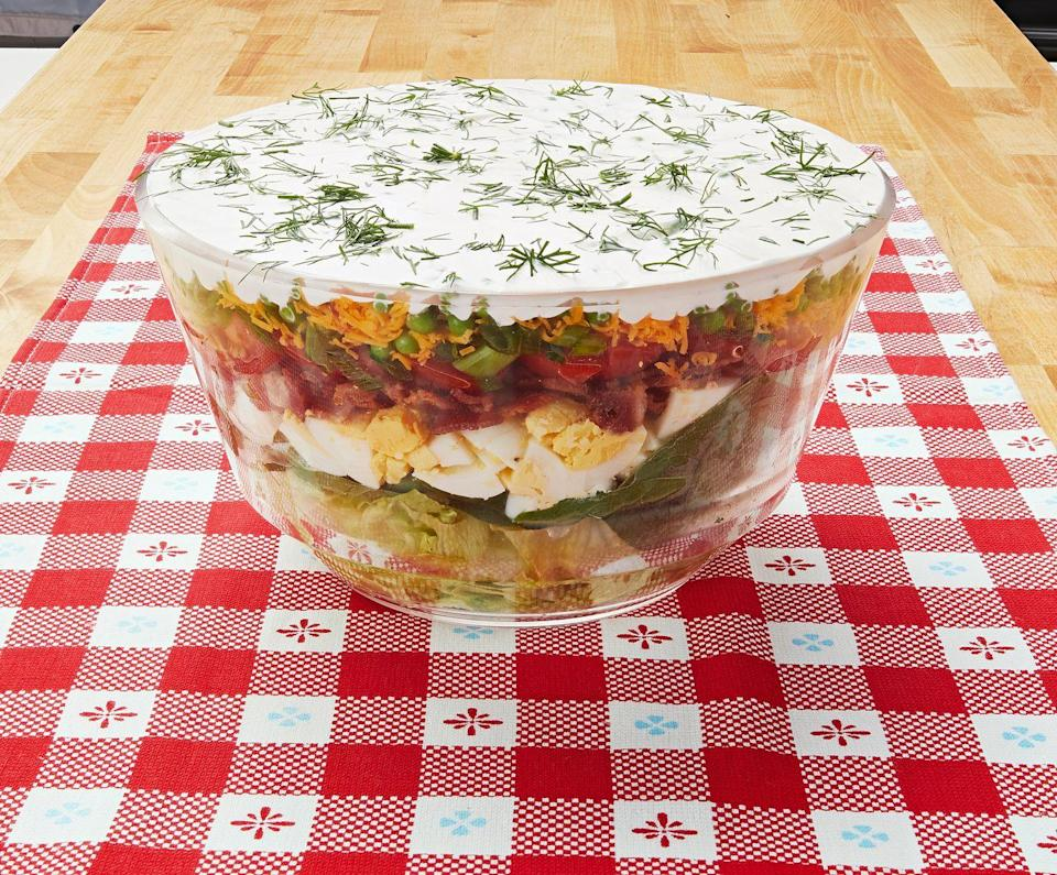 """<p>You turned to this colorful salad for all those outdoor picnics, and you weren't alone. <br> </p><p><a class=""""link rapid-noclick-resp"""" href=""""https://www.thepioneerwoman.com/food-cooking/recipes/a10214/layered-salad/"""" rel=""""nofollow noopener"""" target=""""_blank"""" data-ylk=""""slk:Get the Recipe!"""">Get the Recipe!</a></p>"""