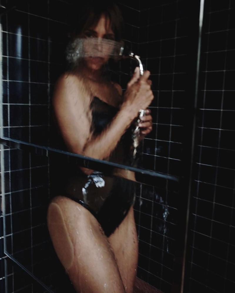 Halle Berry takes a swimsuit shower
