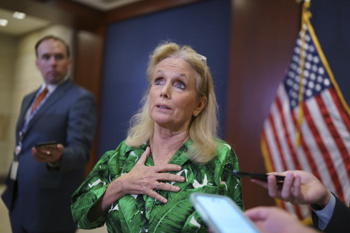 Rep. Debbie Dingell, D-Mich., pauses for reporters after a meeting of the House Democratic Caucus, Tuesday, June 15, 2021, at the Capitol in Washington. Dingell, who has sponsored several PFAS-related bills in the House, said she has looked for PFAS in her own makeup and lipstick, but could not see if they were present because the products were not properly labeled. (AP Photo/J. Scott Applewhite)