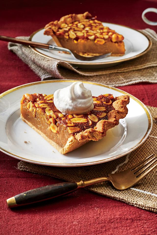 """<p><strong>Recipe: <a href=""""http://www.southernliving.com/recipes/georgia-peanut-pie-peanut-butter-crust-brown-sugar-bourbon-whipped-cream-recipe"""">Georgia Peanut Pie with Peanut Butter Crust and Brown Sugar-Bourbon Whipped Cream</a></strong></p> <p>This impressive pie is packed full of rich peanut flavor, from the gooey peanut butter filling to the peanut butter crust.</p>"""