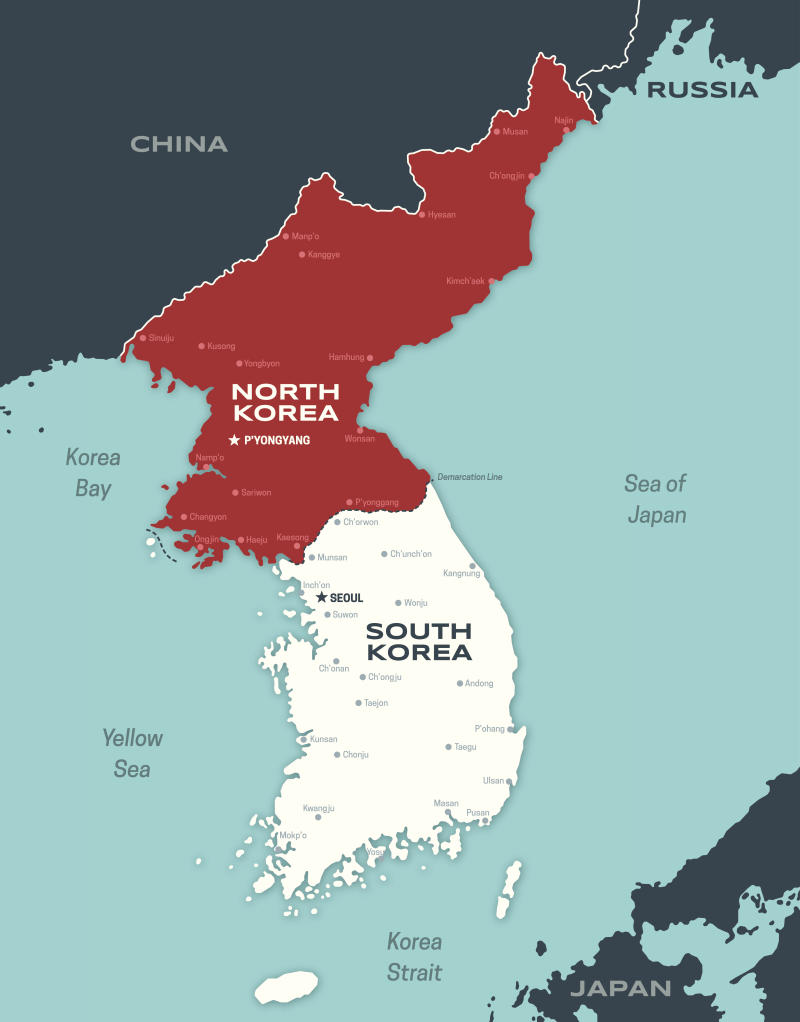 Map of the Korean peninsula including North and South Korea and major cities.