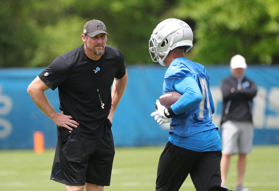 Detroit Lions head coach Dan Campbell watches drills during OTA practice Thursday, June 3, 2021, at the Allen Park practice facility.
