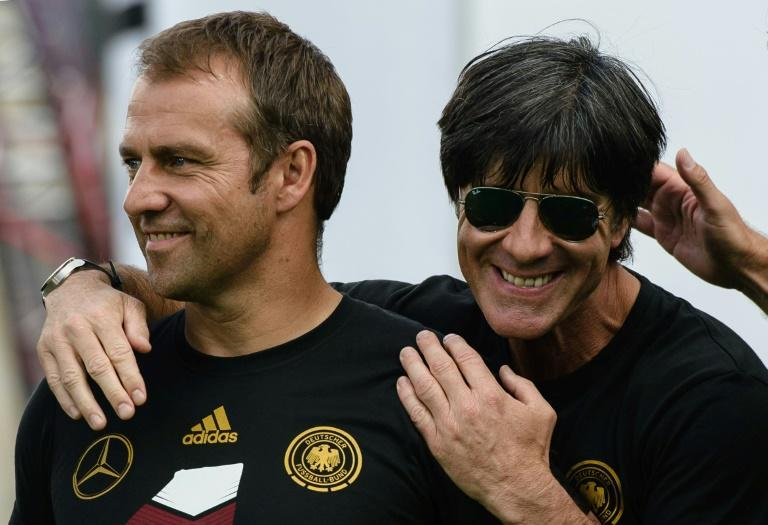 Hansi Flick (L) was assistant coach to Joachim Loew (R) when Germany won the 2014 World Cup in Brazil