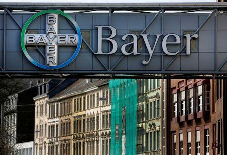 FILE PHOTO: The logo of Bayer AG is pictured at the Bayer Healthcare subgroup production plant in Wuppertal, Germany February 24, 2014. REUTERS/Ina Fassbender/File Photo