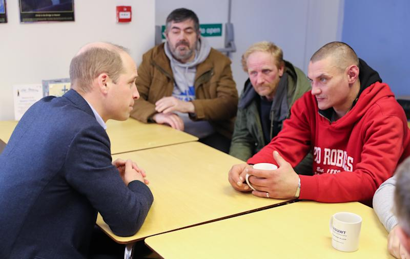 MANSFIELD, ENGLAND - FEBRUARY 26: Prince William, Duke of Cambridge (L) speaks with service users during a visit to The Beacon, a day centre which gives support to the homeless and vulnerable people on February 26, 2020 in Mansfield, England. (Photo by Chris Jackson - WPA Pool/Getty Images)