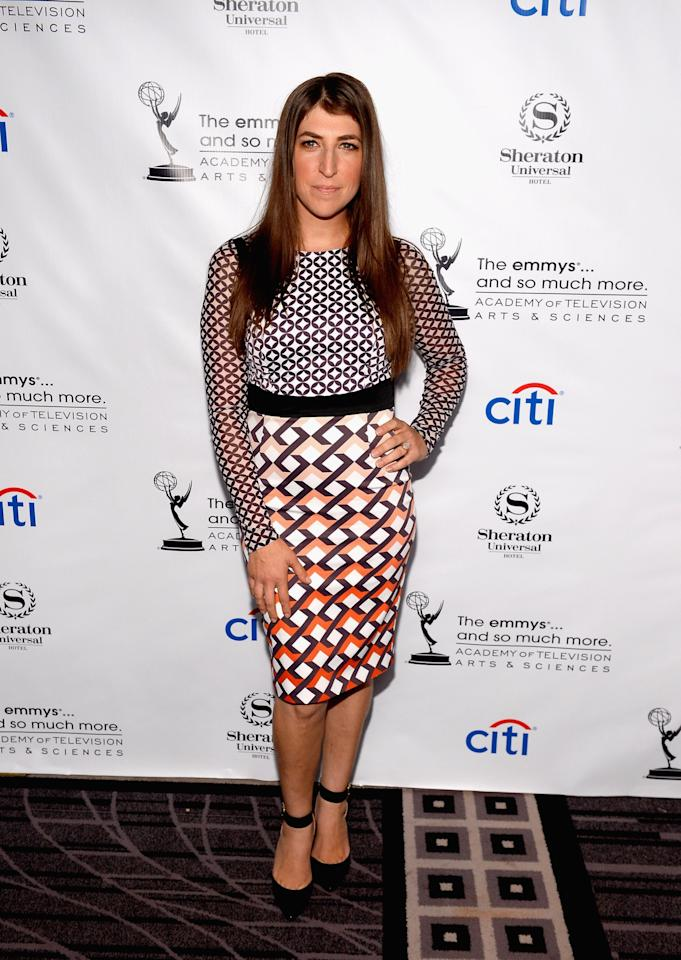 UNIVERSAL CITY, CA - AUGUST 19: Actress Mayim Bialik arrives at the Academy of Television Arts & Sciences' Performers Peer Group cocktail reception to celebrate the 65th Primetime Emmy Awards at Sheraton Universal on August 19, 2013 in Universal City, California. (Photo by Mark Davis/Getty Images)