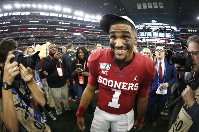 Oklahoma quarterback Jalen Hurts was a controversial second-round choice by the Philadelphia Eagles. Here's why the pick made sense. (Photo by Ron Jenkins/Getty Images)