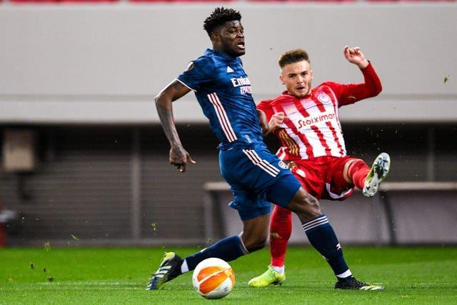 Thomas Partey in Europa League action against Olympiacos