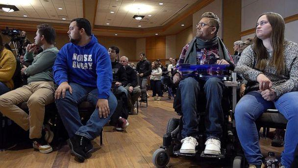 PHOTO: Tucker Cassidy, second from right, a quadriplegic in Waterloo, Iowa, says disabled people in Iowa are really excited about the possibility of a virtual caucus. (ABC News)
