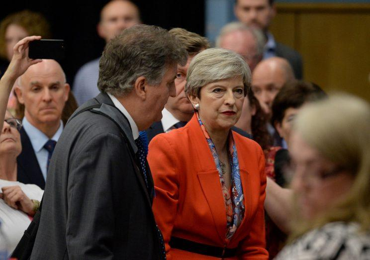 Theresa May struggles to see the positives after she held her Maidenhead seat. (PA)