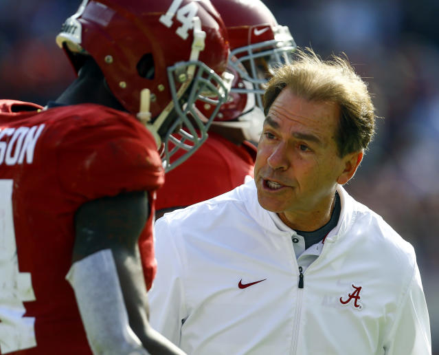 Could Nick Saban and Alabama beat an NFL team? No. But some former Tide players in the NFL think it could happen. (AP)