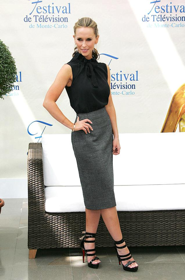 """Jennifer Love Hewitt also looked fabulous in the south of France. The """"Ghost Whisperer"""" perfectly paired her sexy gray pencil skirt with fierce $1,500 Louboutin """"Differa"""" sandals, and a flirty ponytail. Tony Barson/<a href=""""http://www.wireimage.com"""" target=""""new"""">WireImage.com</a> - June 11, 2009"""