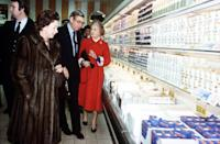 <p>Princess Margaret was appropriately bundled up for the grocer's refrigerator section during a 1982 visit to Bath, in which she opened this supermarket. </p>