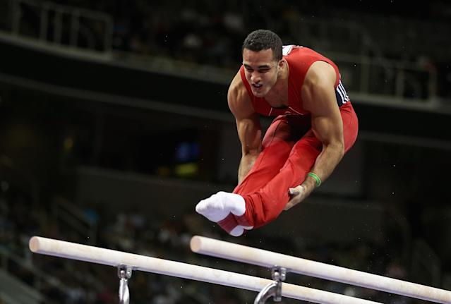 SAN JOSE, CA - JUNE 30: Danell Leyva competes on the parallel bars during day 3 of the 2012 U.S. Olympic Gymnastics Team Trials at HP Pavilion on June 30, 2012 in San Jose, California. (Photo by Ezra Shaw/Getty Images)