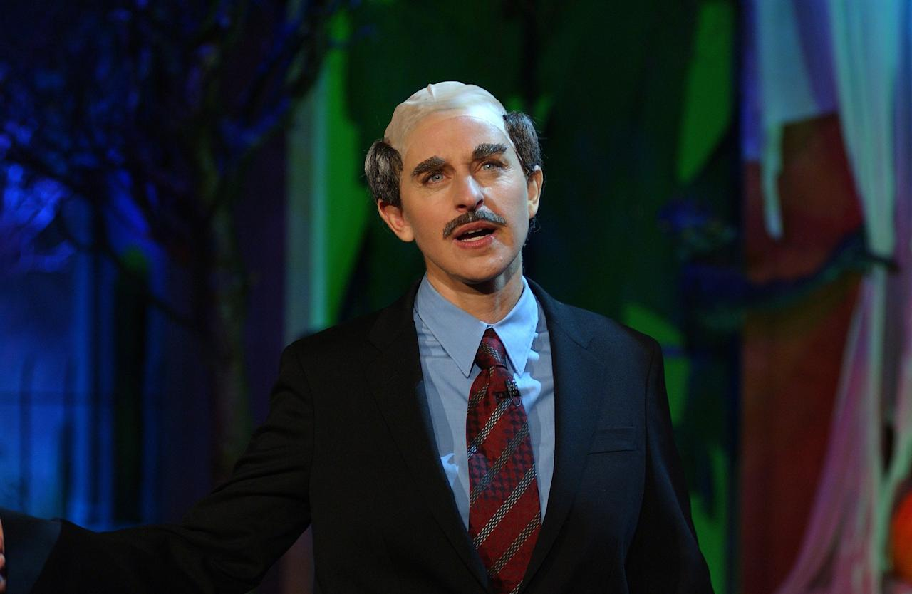 The talk show host set the Ellen DeGeneres Halloween costume bar high with her season one version of Dr. Phil, complete with the brows and the 'stache.