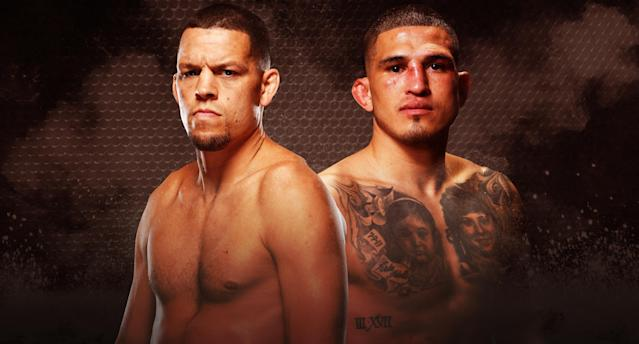 Nate Diaz returns to the Octagon after nearly three years to face fellow welterweight Anthony Pettis at UFC 241 on Saturday in Anaheim, California. (Yahoo Sports illustration)