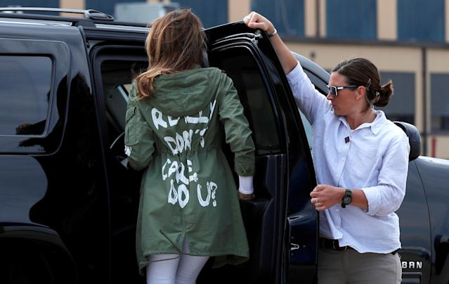 "Melania Trump sparked controversy with her Zara jacket reading ""I Really Don't Care. Do U?"" on June 21, 2018. (Photo: Reuters/Kevin Lemarque)"