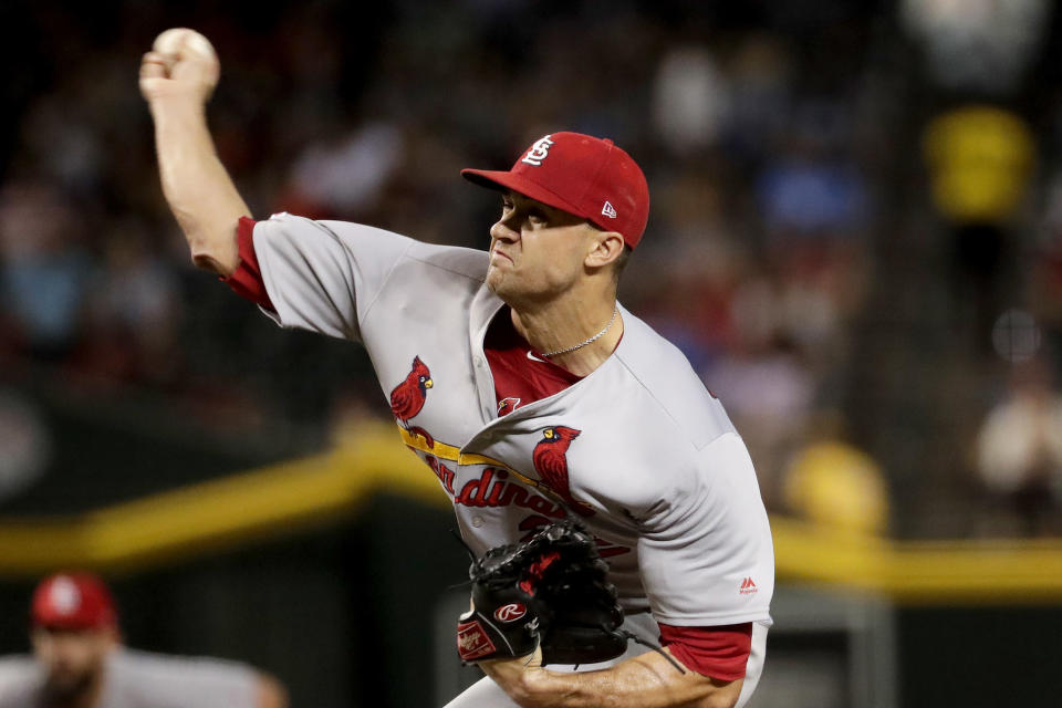 St. Louis Cardinals starting pitcher Jack Flaherty throws against the Arizona Diamondbacks during the first inning of a baseball game Tuesday, Sept. 24, 2019, in Phoenix. (AP Photo/Matt York)