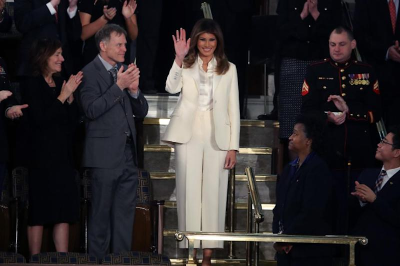 Melania arrived alone and in white to the State of the Union address. Photo: Getty