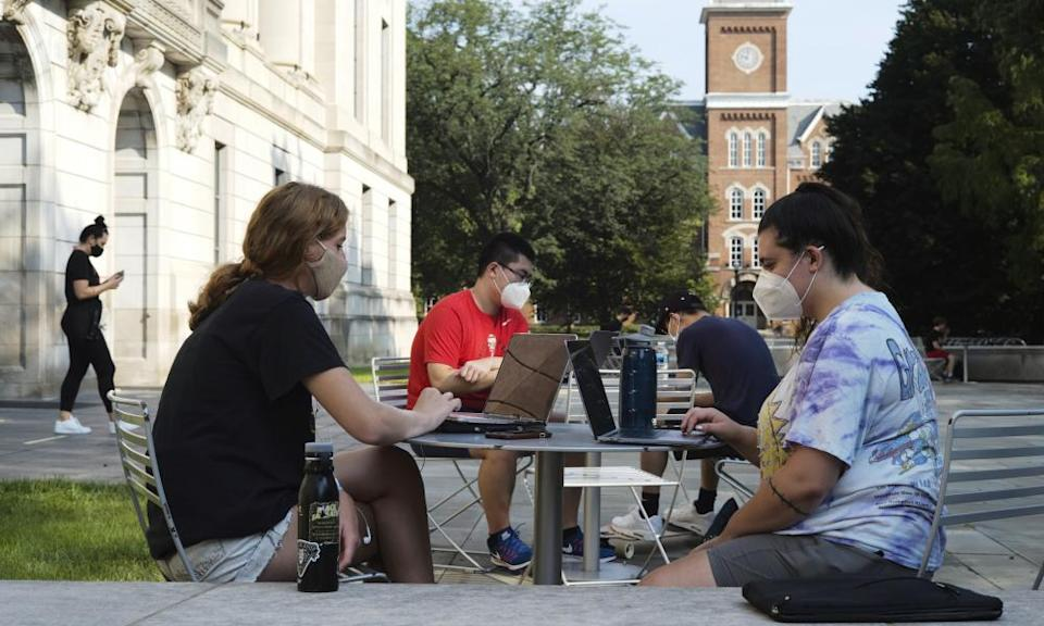 Students study outside of Thompson Library at Ohio State University.