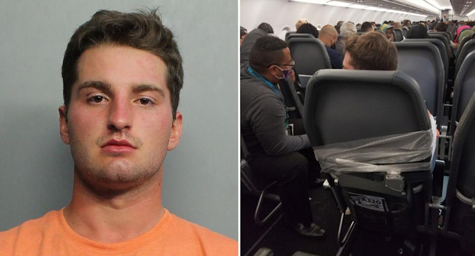 Maxwell Berry's mugshot and an image of him duct taped to a plane seat.