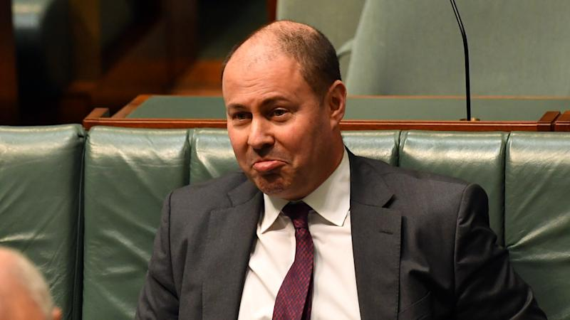 Treasurer Josh Frydenberg reacts during Question Time in the House of Representatives at Parliament House on June 16, 2020 in Canberra, Australia.